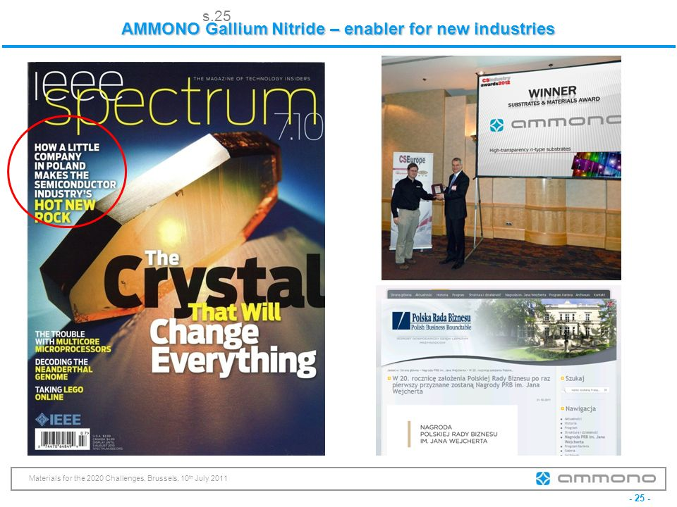 - 25 - Materials for the 2020 Challenges, Brussels, 10 th July 2011 AMMONO Gallium Nitride – enabler for new industries s.25