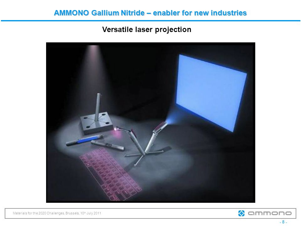 - 8 - Materials for the 2020 Challenges, Brussels, 10 th July 2011 AMMONO Gallium Nitride – enabler for new industries Versatile laser projection