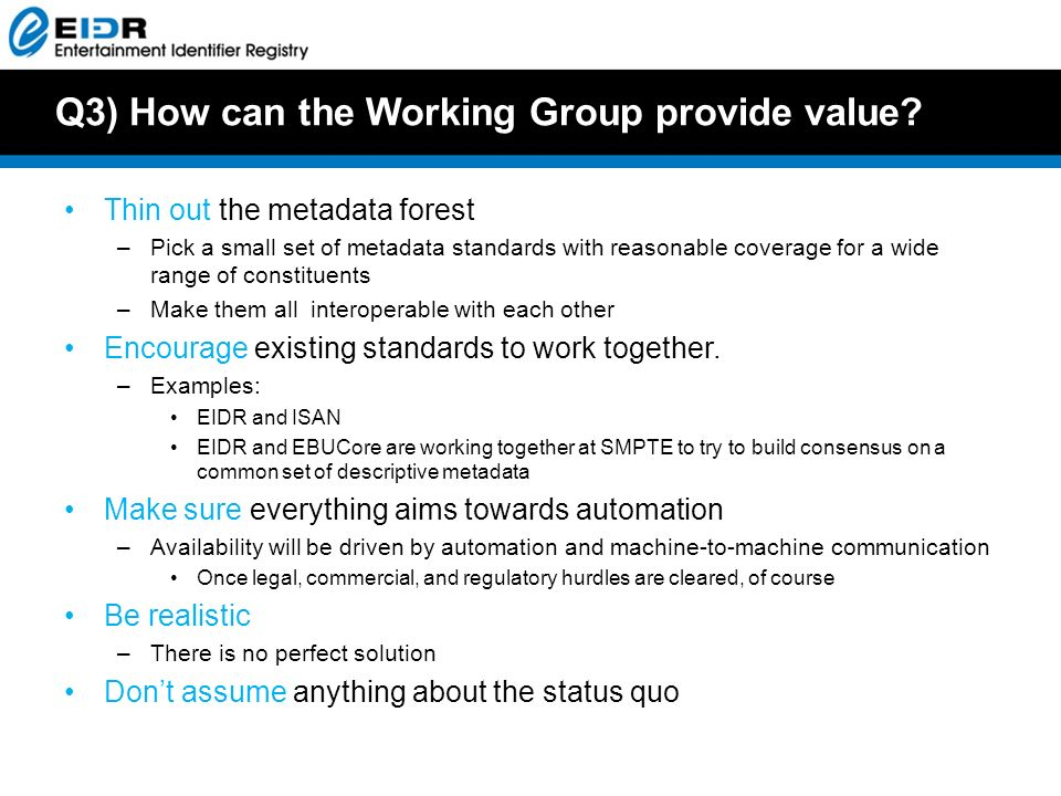 Q3) How can the Working Group provide value.