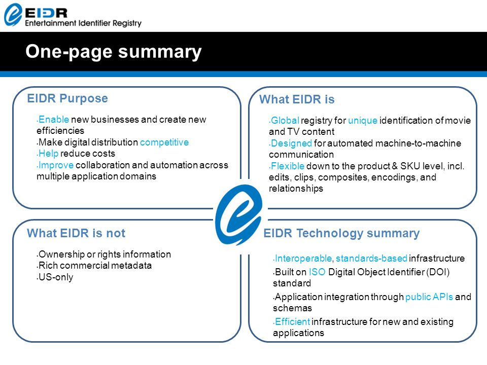 One-page summary EIDR Technology summary Interoperable, standards-based infrastructure Built on ISO Digital Object Identifier (DOI) standard Application integration through public APIs and schemas Efficient infrastructure for new and existing applications EIDR Purpose Enable new businesses and create new efficiencies Make digital distribution competitive Help reduce costs Improve collaboration and automation across multiple application domains What EIDR is Global registry for unique identification of movie and TV content Designed for automated machine-to-machine communication Flexible down to the product & SKU level, incl.