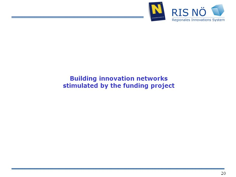 20 Building innovation networks stimulated by the funding project