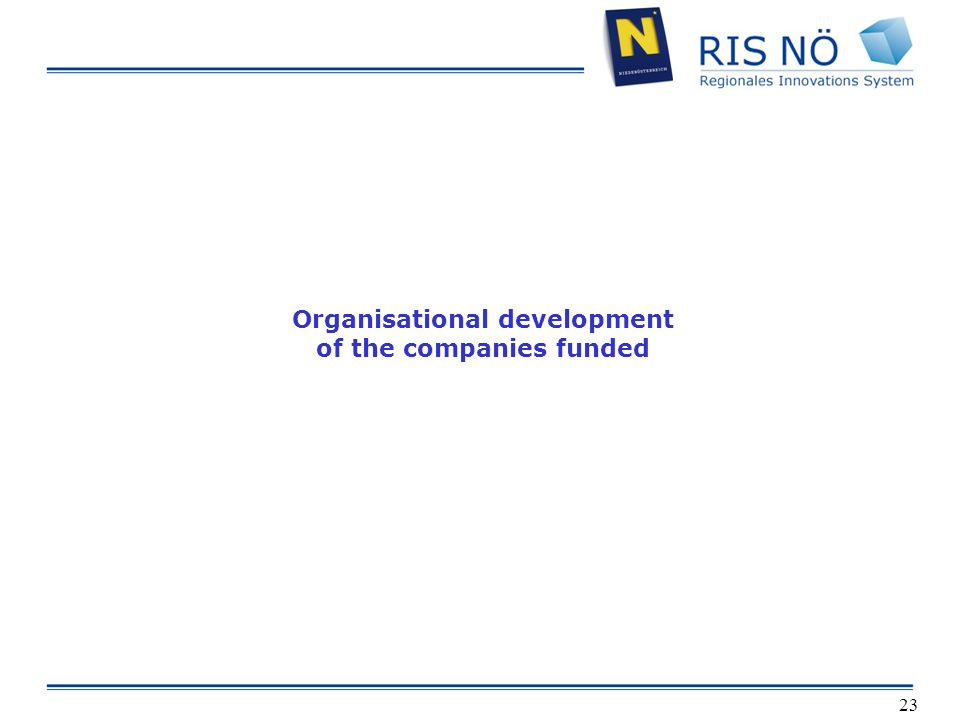 23 Organisational development of the companies funded