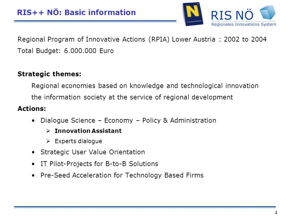 4 RIS++ NÖ: Basic information Regional Program of Innovative Actions (RPIA) Lower Austria : 2002 to 2004 Total Budget: 6.000.000 Euro Strategic themes