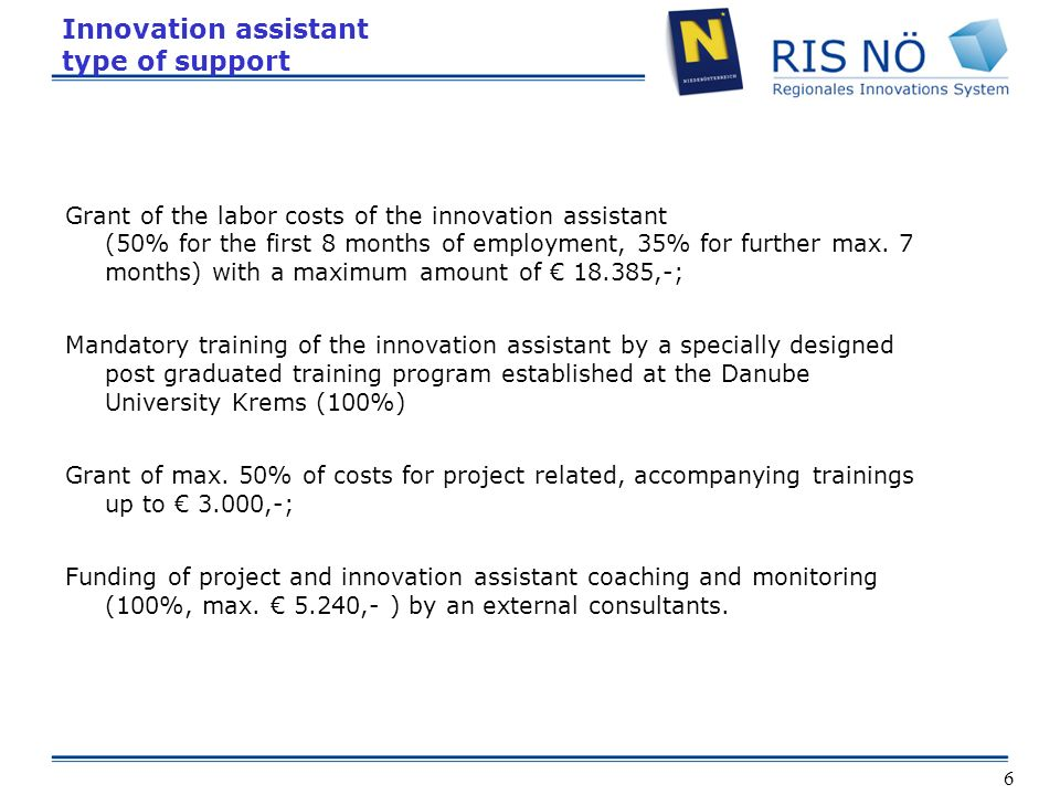 6 Innovation assistant type of support Grant of the labor costs of the innovation assistant (50% for the first 8 months of employment, 35% for further max.