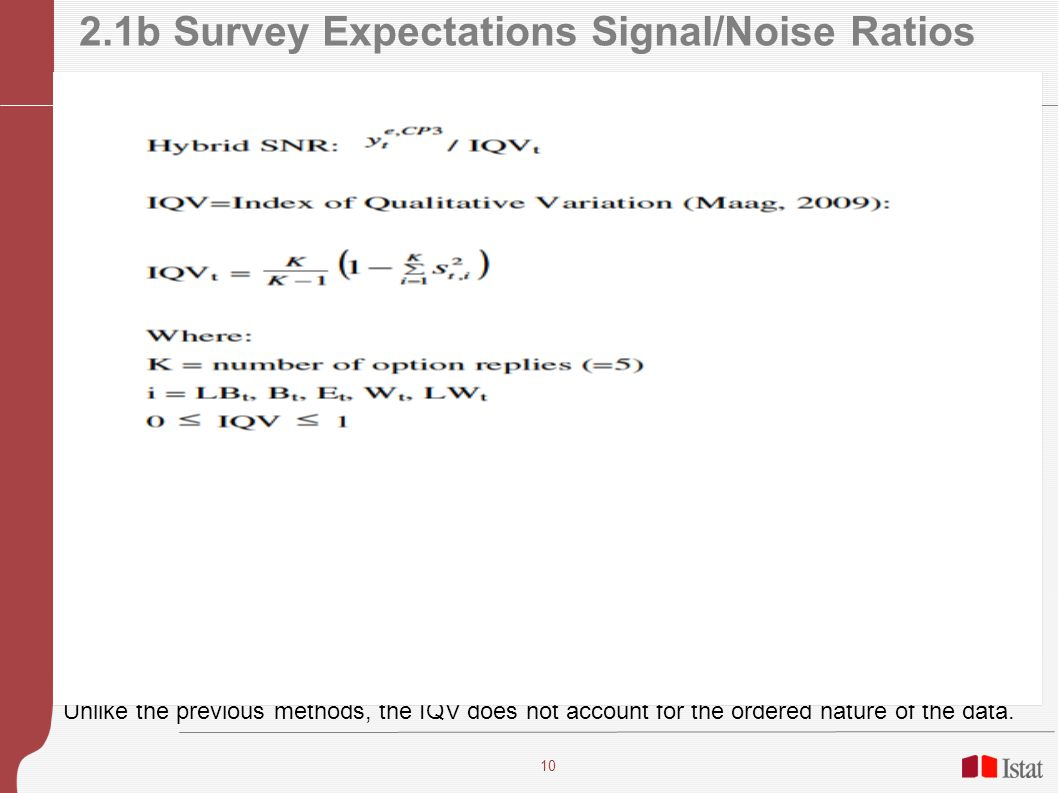10 2.1b Survey Expectations Signal/Noise Ratios Unlike the previous methods, the IQV does not account for the ordered nature of the data.