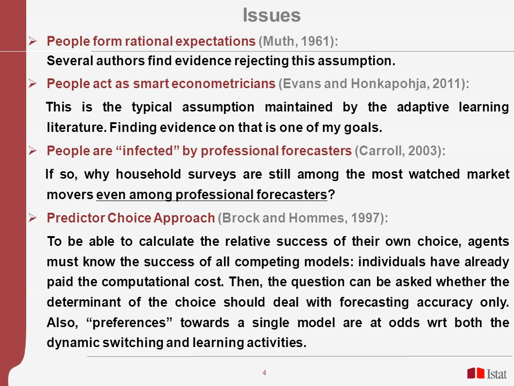 4 Issues People form rational expectations (Muth, 1961): Several authors find evidence rejecting this assumption.