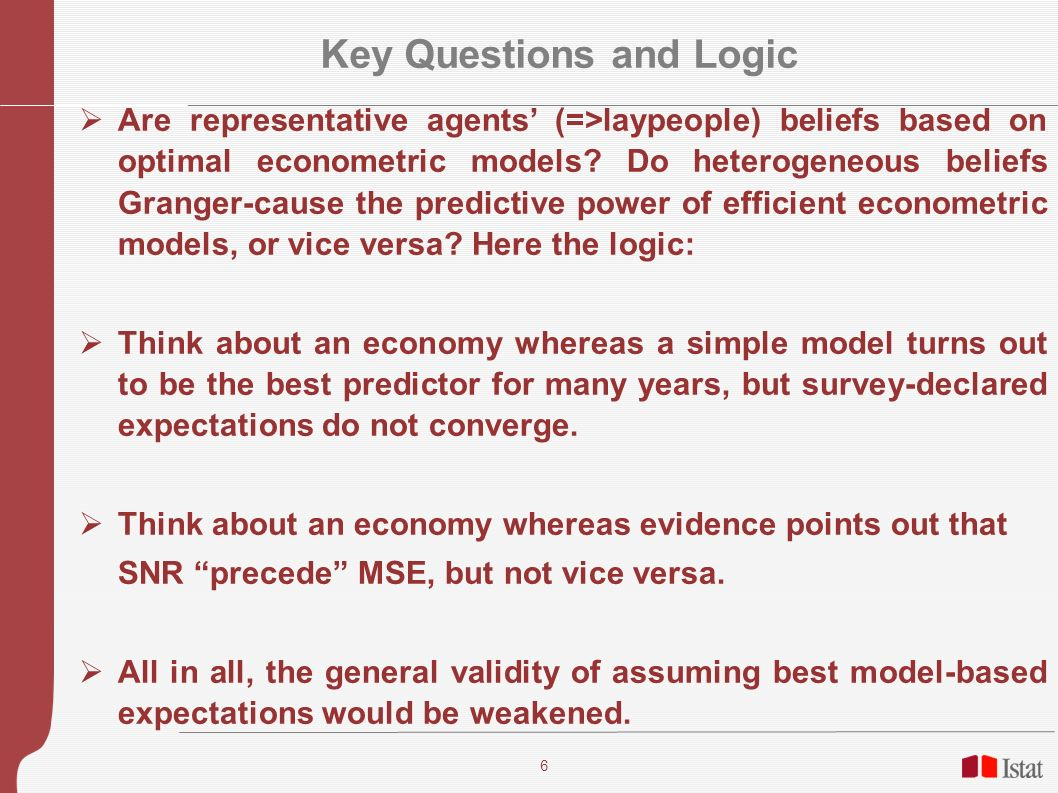 6 Key Questions and Logic Are representative agents (=>laypeople) beliefs based on optimal econometric models? Do heterogeneous beliefs Granger-cause