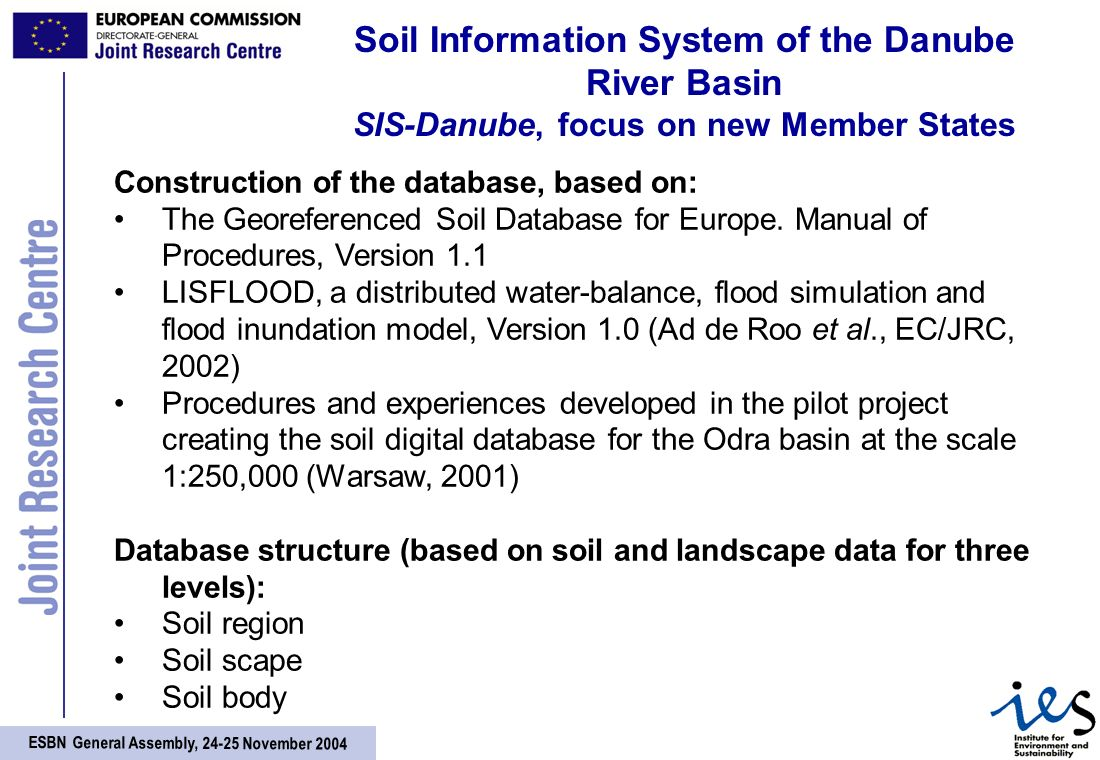 ESBN General Assembly, November 2004 Soil Information System of the Danube River Basin SIS-Danube, focus on new Member States Construction of the database, based on: The Georeferenced Soil Database for Europe.
