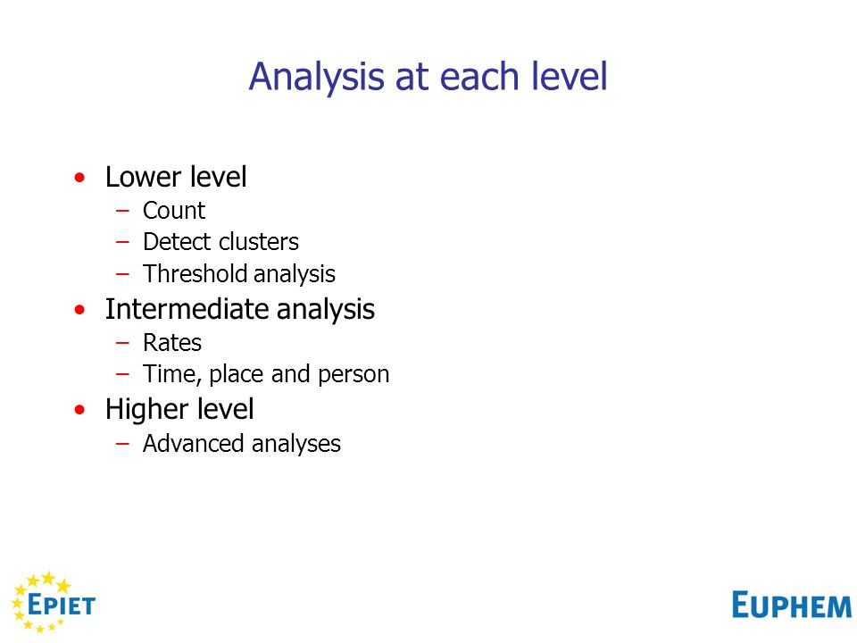 Analysis at each level Lower level –Count –Detect clusters –Threshold analysis Intermediate analysis –Rates –Time, place and person Higher level –Advanced analyses
