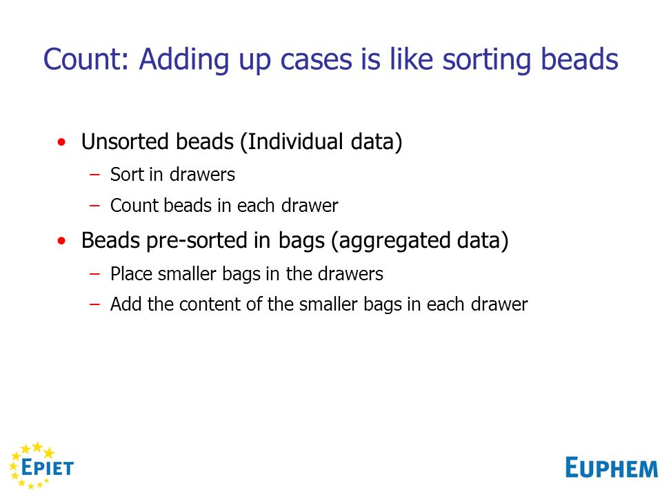 Count: Adding up cases is like sorting beads Unsorted beads (Individual data) –Sort in drawers –Count beads in each drawer Beads pre-sorted in bags (aggregated data) –Place smaller bags in the drawers –Add the content of the smaller bags in each drawer