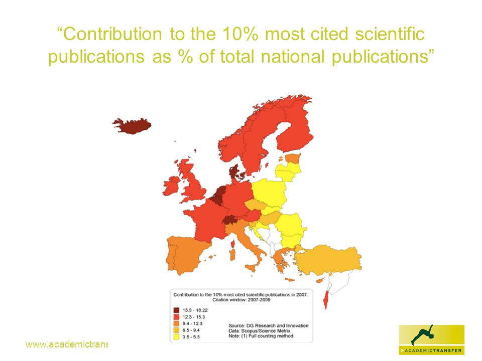 www.academictransfer.com Contribution to the 10% most cited scientific publications as % of total national publications