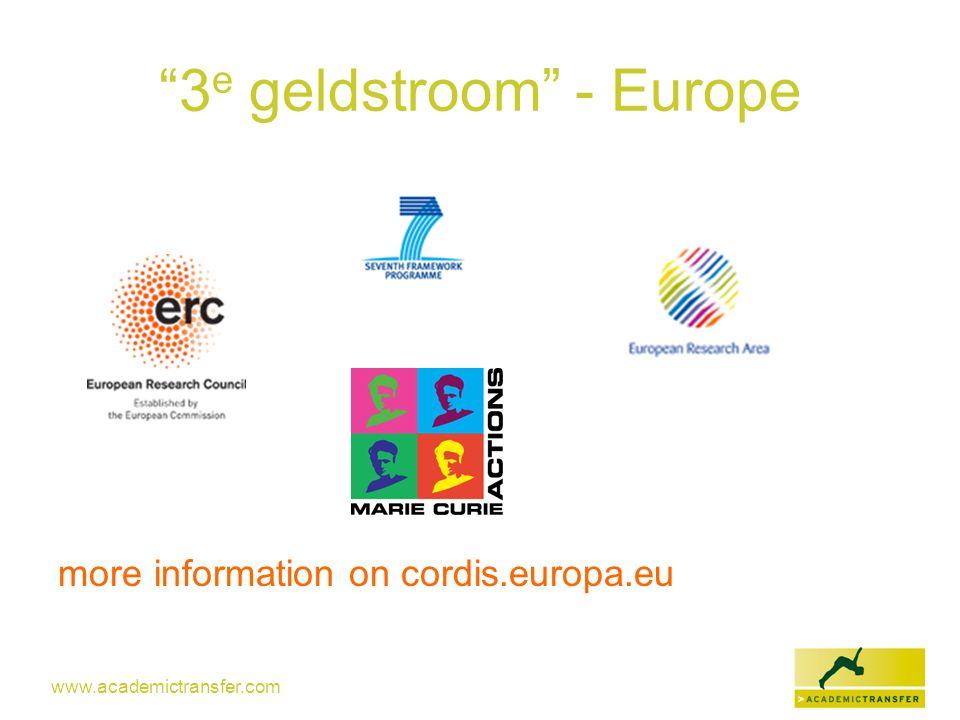 www.academictransfer.com 3 e geldstroom - Europe more information on cordis.europa.eu
