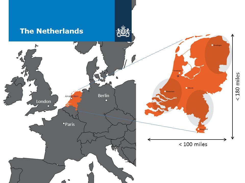 The Netherlands < 100 miles < 180 miles Paris Berlin London Amsterdam