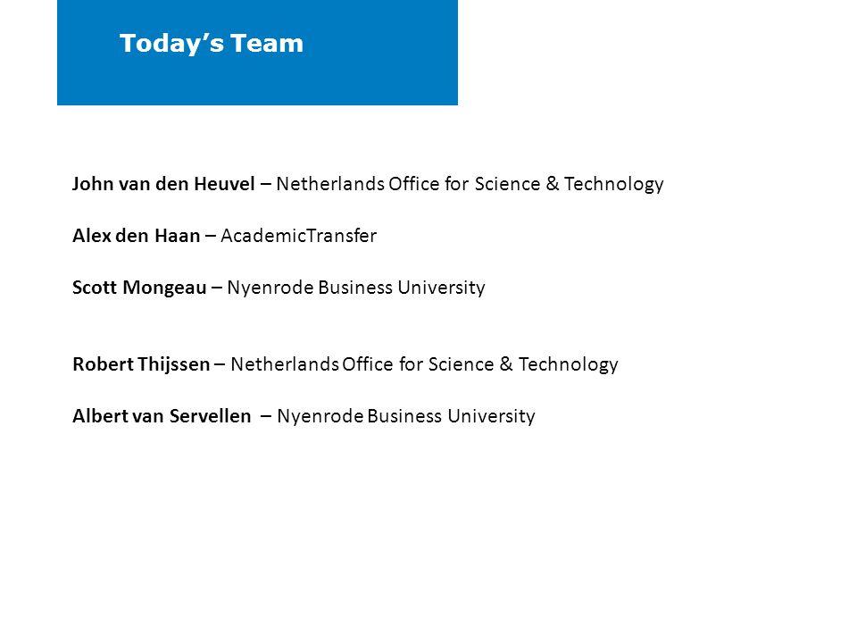 Todays Team John van den Heuvel – Netherlands Office for Science & Technology Alex den Haan – AcademicTransfer Scott Mongeau – Nyenrode Business Unive
