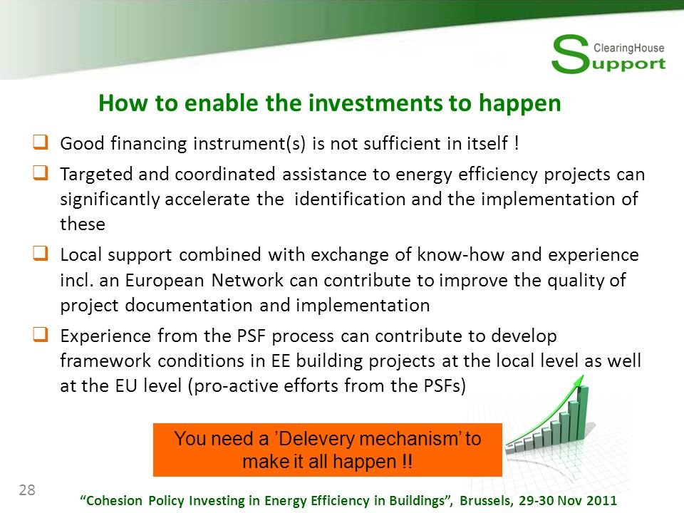 How to enable the investments to happen Good financing instrument(s) is not sufficient in itself .