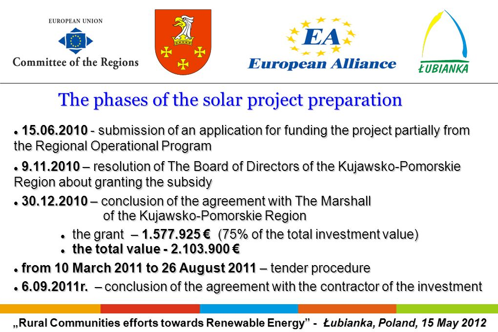 Rural Communities efforts towards Renewable Energy - Łubianka, Poland, 15 May 2012 The phases of the solar project preparation The phases of the solar project preparation 15.06.2010 - submission of an application for funding the project partially from the Regional Operational Program 15.06.2010 - submission of an application for funding the project partially from the Regional Operational Program 9.11.2010 – resolution of The Board of Directors of the Kujawsko-Pomorskie Region about granting the subsidy 9.11.2010 – resolution of The Board of Directors of the Kujawsko-Pomorskie Region about granting the subsidy 30.12.2010 – conclusion of the agreement with The Marshall of the Kujawsko-Pomorskie Region 30.12.2010 – conclusion of the agreement with The Marshall of the Kujawsko-Pomorskie Region the grant – 1.577.925 (75% of the total investment value) the grant – 1.577.925 (75% of the total investment value) the total value - 2.103.900 the total value - 2.103.900 from 10 March 2011 to 26 August 2011 – tender procedure from 10 March 2011 to 26 August 2011 – tender procedure 6.09.2011r.