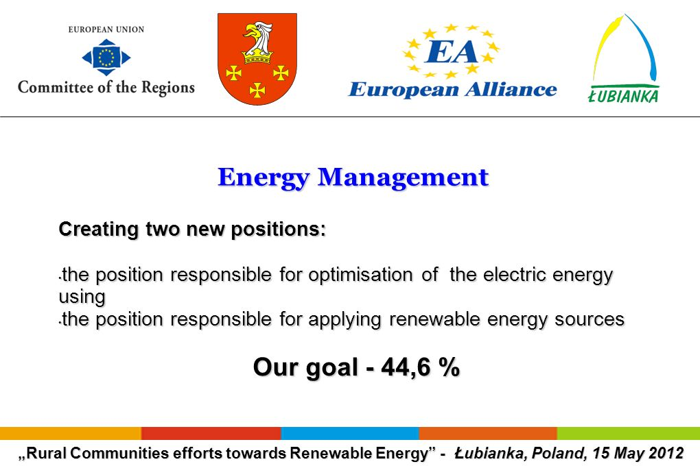 Rural Communities efforts towards Renewable Energy - Łubianka, Poland, 15 May 2012 Energy Management Energy Management Creating two new positions: the