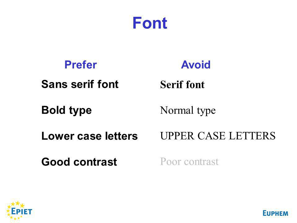 Sans serif font Bold type Lower case letters Good contrast Serif font Normal type UPPER CASE LETTERS Poor contrast PreferAvoid Font