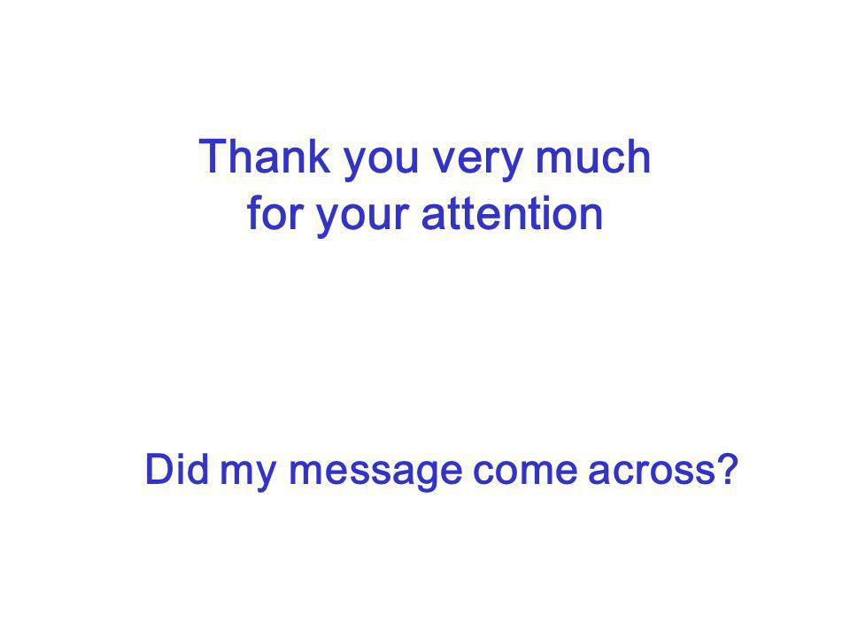 Thank you very much for your attention Did my message come across