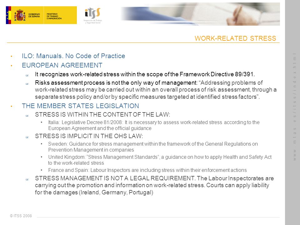 © ITSS 2008 w w w. m t a s. e s / i t s s / i n d e x.h t m l WORK-RELATED STRESS ILO: Manuals. No Code of Practice EUROPEAN AGREEMENT – It recognizes