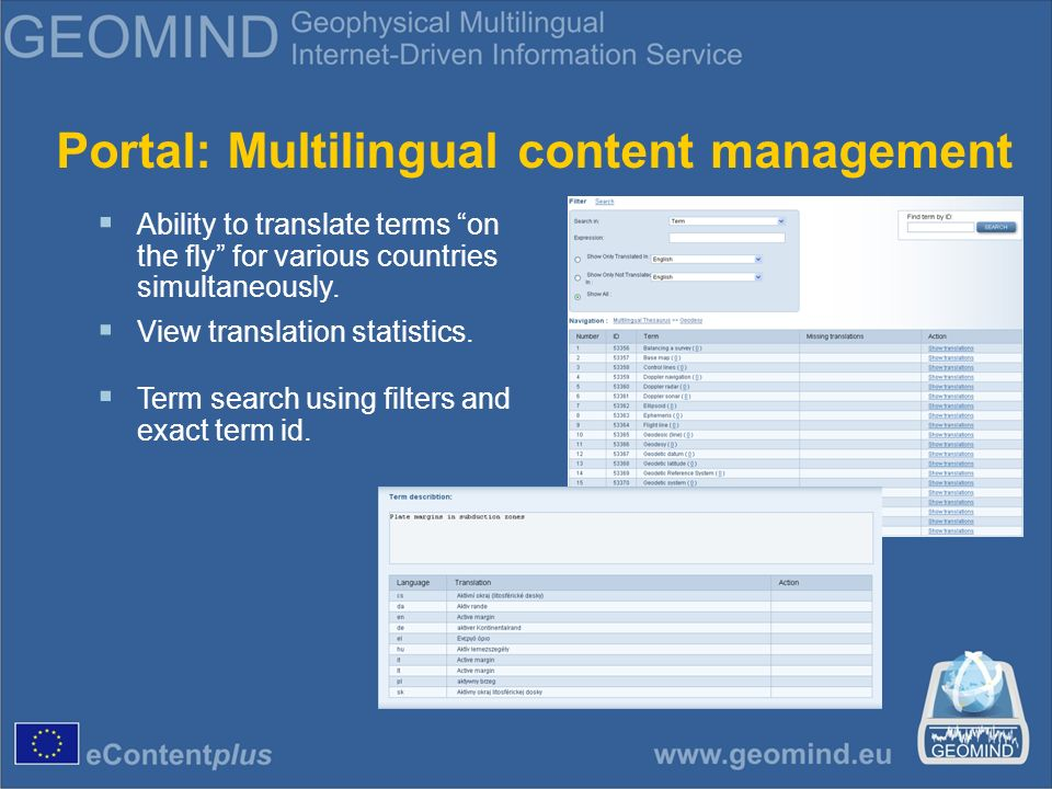 Portal: Multilingual content management Ability to translate terms on the fly for various countries simultaneously.