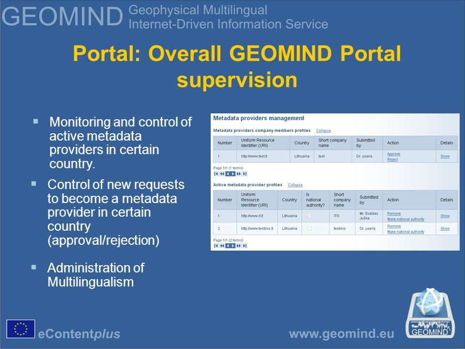 Portal: Overall GEOMIND Portal supervision Monitoring and control of active metadata providers in certain country.