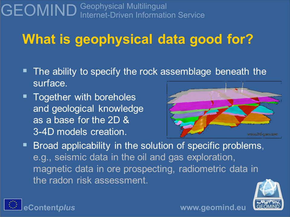 What is geophysical data good for. The ability to specify the rock assemblage beneath the surface.