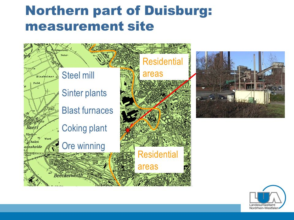Northern part of Duisburg: measurement site Residential areas Steel mill Sinter plants Blast furnaces Coking plant Ore winning