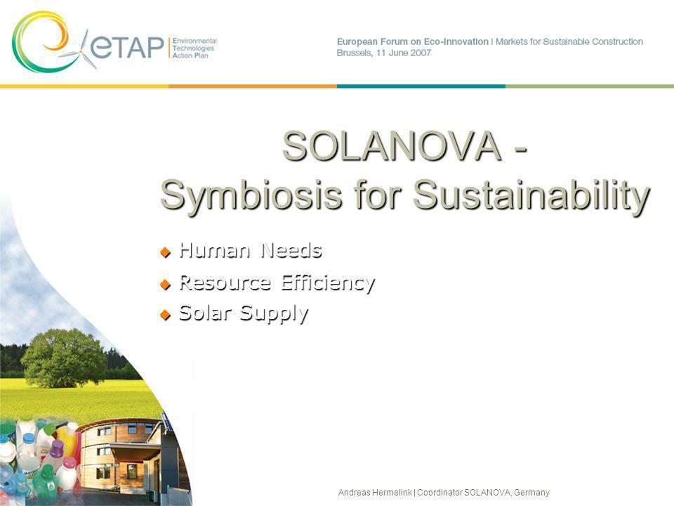 SOLANOVA - Symbiosis for Sustainability Human Needs Human Needs Resource Efficiency Resource Efficiency Solar Supply Solar Supply Andreas Hermelink | Coordinator SOLANOVA, Germany