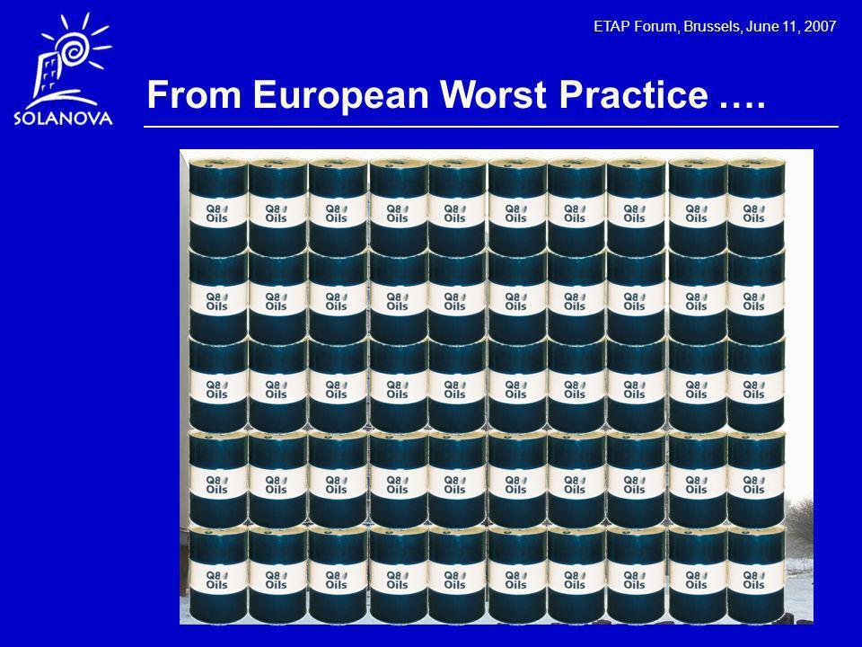 ETAP Forum, Brussels, June 11, 2007 From European Worst Practice ….