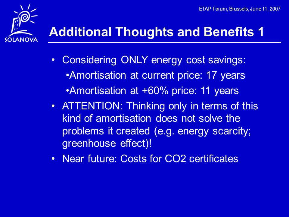ETAP Forum, Brussels, June 11, 2007 Additional Thoughts and Benefits 1 Considering ONLY energy cost savings: Amortisation at current price: 17 years A