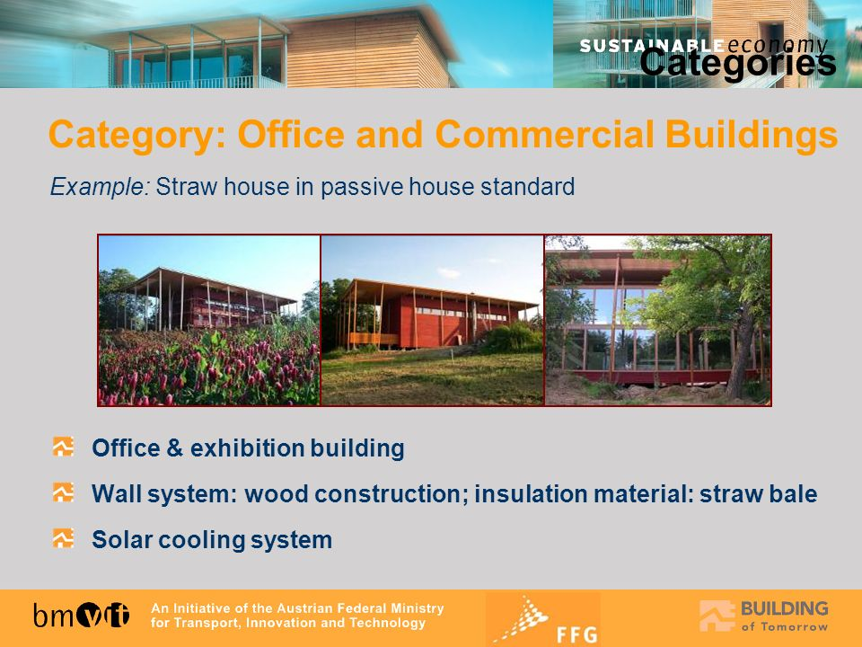 Office & exhibition building Wall system: wood construction; insulation material: straw bale Solar cooling system Categories Category: Office and Comm