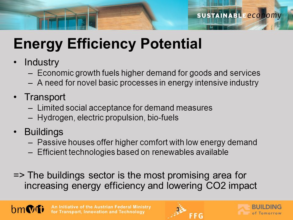 3 Industry –Economic growth fuels higher demand for goods and services –A need for novel basic processes in energy intensive industry Transport –Limit