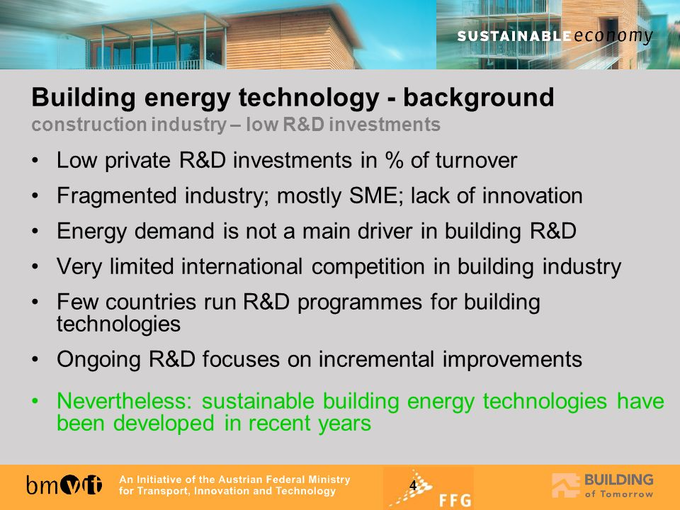 4 Low private R&D investments in % of turnover Fragmented industry; mostly SME; lack of innovation Energy demand is not a main driver in building R&D