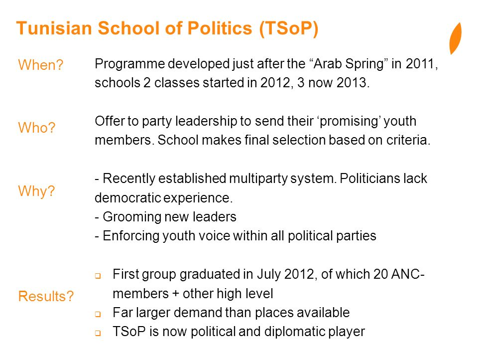 Tunisian School of Politics (TSoP) Programme developed just after the Arab Spring in 2011, schools 2 classes started in 2012, 3 now 2013. Offer to par