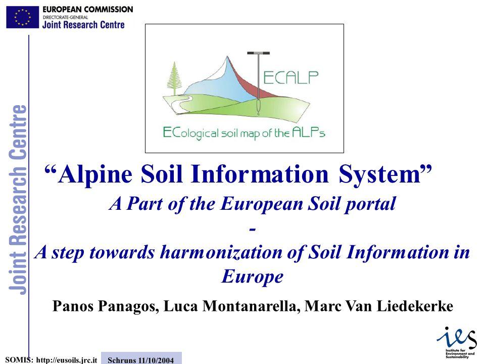 12 SOMIS: http://eusoils.jrc.it Schruns 11/10/2004 European Soils by theme: Soil Erosion Place to make available information about Soil themes CD-ROM: Nature & Extent of Soil Erosion in Europe (PESERA project) Pan European Soil Erosion estimates (t/ha/yr) data (from PESERA project) More data will be available in this section (Organic Carbon)
