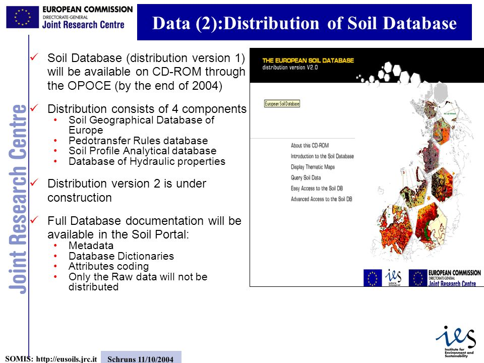 5 SOMIS: http://eusoils.jrc.it Schruns 11/10/2004 Data (2):Distribution of Soil Database Soil Database (distribution version 1) will be available on CD-ROM through the OPOCE (by the end of 2004) Distribution consists of 4 components Soil Geographical Database of Europe Pedotransfer Rules database Soil Profile Analytical database Database of Hydraulic properties Distribution version 2 is under construction Full Database documentation will be available in the Soil Portal: Metadata Database Dictionaries Attributes coding Only the Raw data will not be distributed