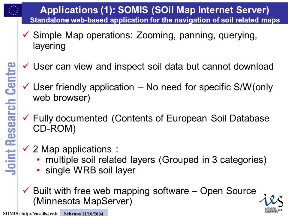 9 SOMIS: http://eusoils.jrc.it Schruns 11/10/2004 Applications(2) SOMIS: http://eusoils.jrc.it