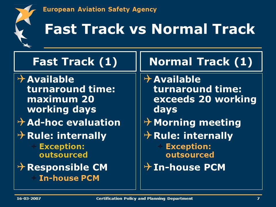 European Aviation Safety Agency Certification Policy and Planning Department Fast Track vs Normal Track Available turnaround time: maximum 20 working days Ad-hoc evaluation Rule: internally Exception: outsourced Responsible CM In-house PCM Available turnaround time: exceeds 20 working days Morning meeting Rule: internally Exception: outsourced In-house PCM Fast Track (1)Normal Track (1)