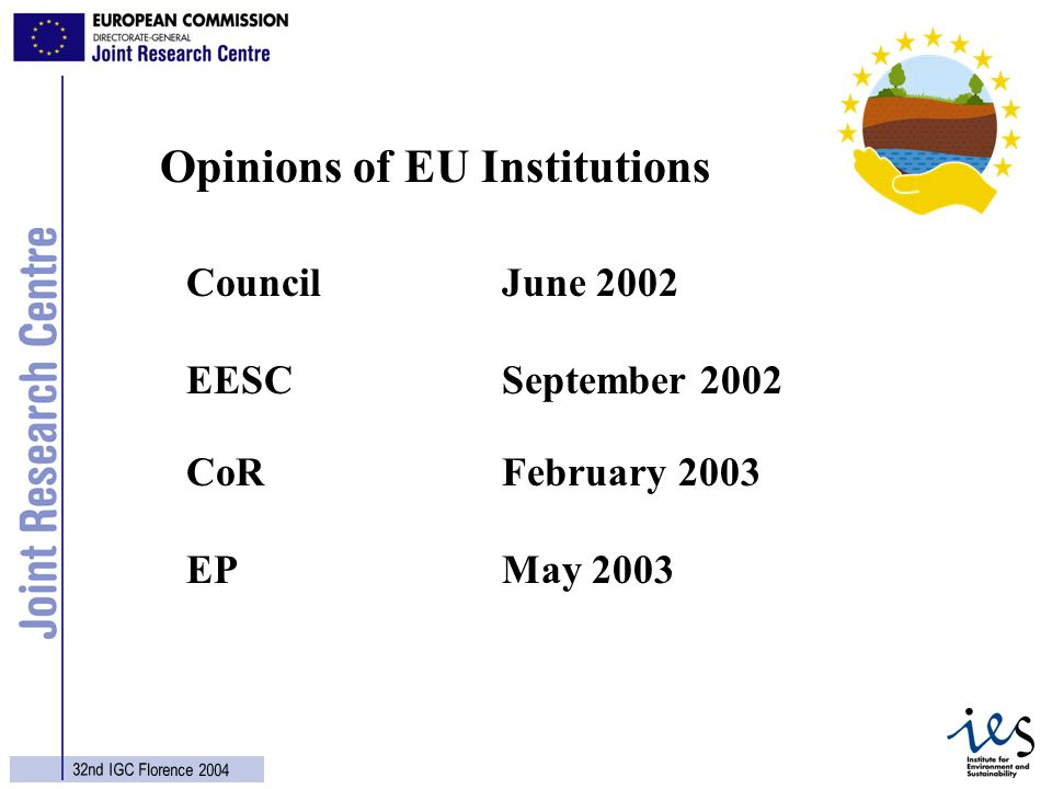 9 32nd IGC Florence 2004 Council June 2002 EESCSeptember 2002 CoRFebruary 2003 EPMay 2003 Opinions of EU Institutions