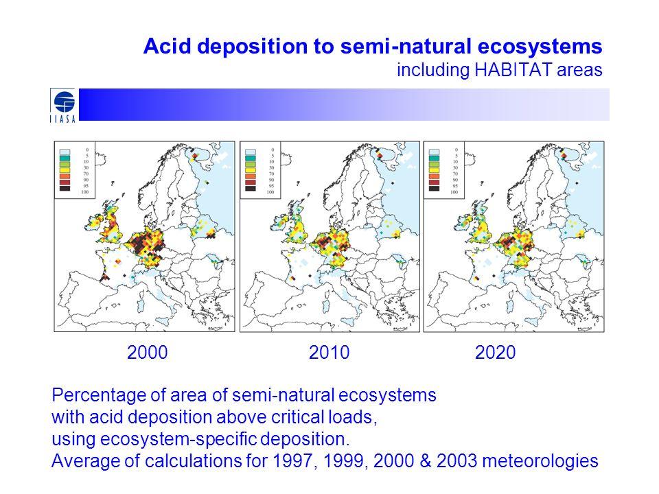 Acid deposition to semi-natural ecosystems including HABITAT areas Percentage of area of semi-natural ecosystems with acid deposition above critical l