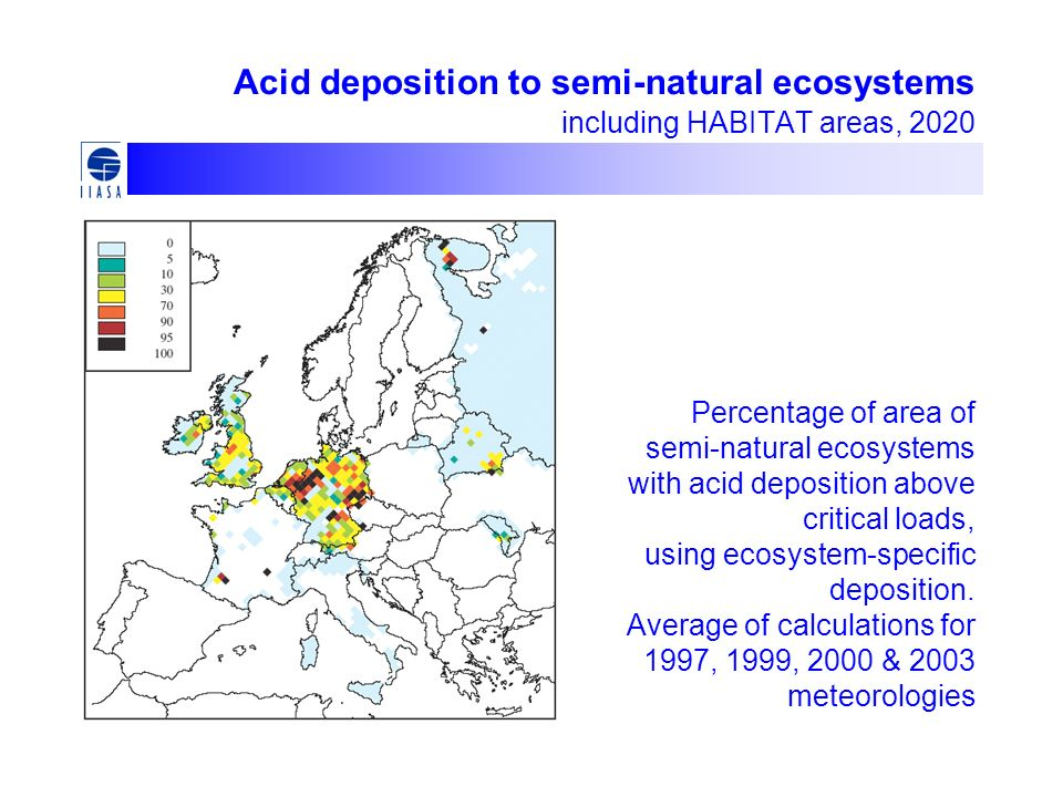 Percentage of area of semi-natural ecosystems with acid deposition above critical loads, using ecosystem-specific deposition. Average of calculations