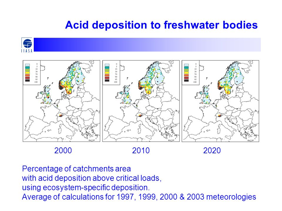 Percentage of catchments area with acid deposition above critical loads, using ecosystem-specific deposition. Average of calculations for 1997, 1999,