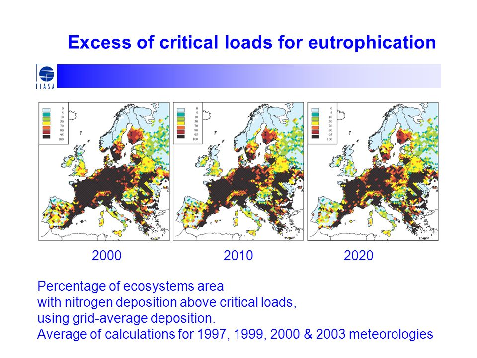 Excess of critical loads for eutrophication Percentage of ecosystems area with nitrogen deposition above critical loads, using grid-average deposition