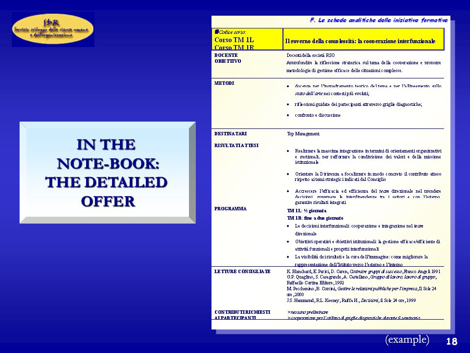 18 IN THE NOTE-BOOK: THE DETAILED OFFER (example)