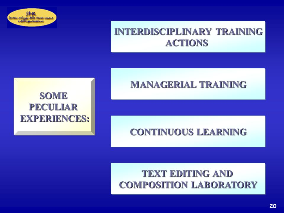 20 SOMEPECULIAREXPERIENCES: INTERDISCIPLINARY TRAINING ACTIONS MANAGERIAL TRAINING CONTINUOUS LEARNING TEXT EDITING AND COMPOSITION LABORATORY