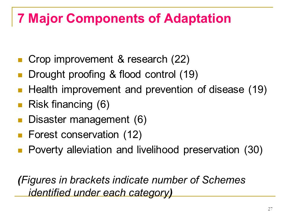 27 7 Major Components of Adaptation Crop improvement & research (22) Drought proofing & flood control (19) Health improvement and prevention of diseas
