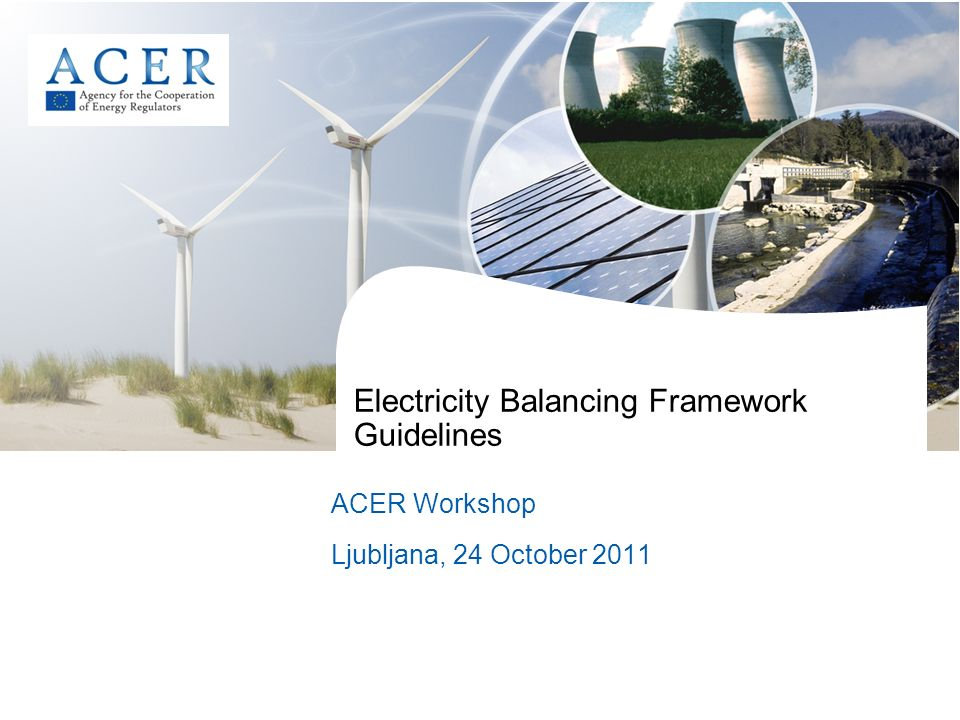 Electricity Balancing Framework Guidelines ACER Workshop Ljubljana, 24 October 2011