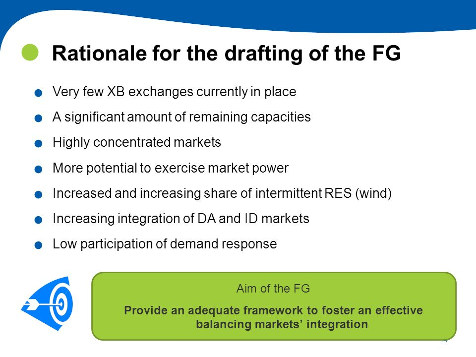 14 Rationale for the drafting of the FG. Very few XB exchanges currently in place. A significant amount of remaining capacities. Highly concentrated m