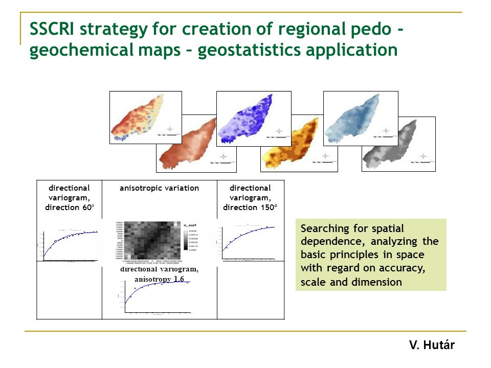 Searching for spatial dependence, analyzing the basic principles in space with regard on accuracy, scale and dimension directional variogram, direction 60 º anisotropic variationdirectional variogram, direction 150º directional variogram, anisotropy 1.6 V.